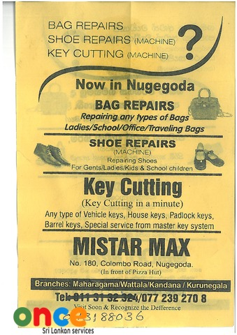 Key Cutting, Shoe Repairs, Bag Repairs By Mistar Max