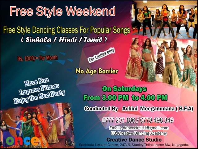 Free style Dancing class for Popular Songs ( Hindi / Sinhala / Tamil ) in Nugegoda - Ladies only Cla