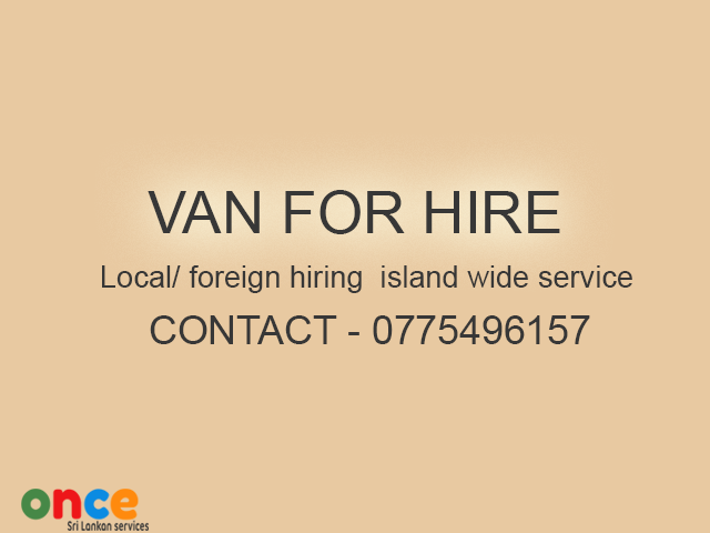 Toyota Hi-ace van for hire